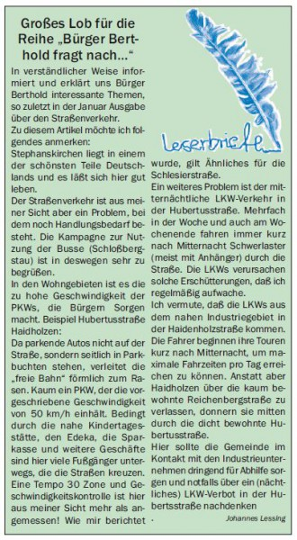 Gemeindekurier Januar 2014 Leserbrief Lessing zur Verkehrspolitik